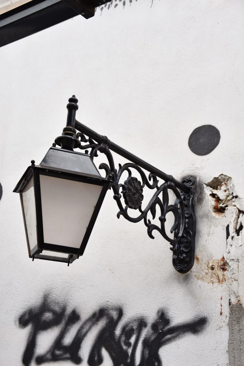 street lamp on forged iron support