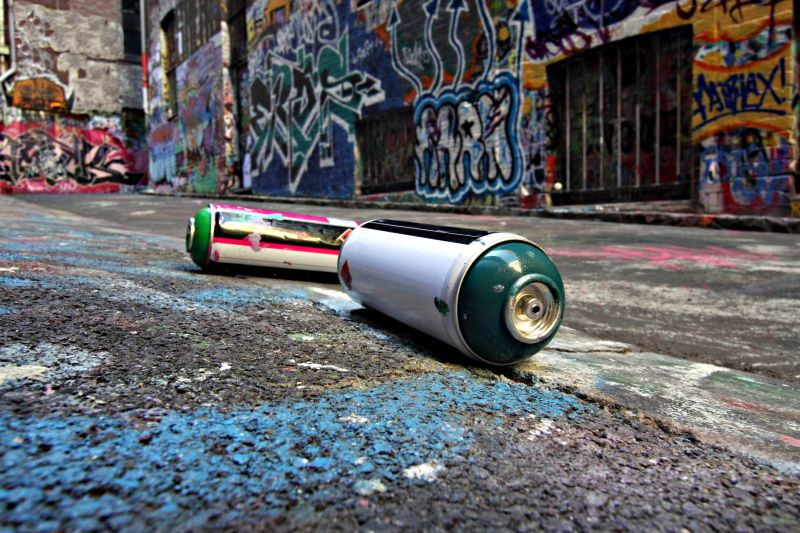 Spray cans in a Graffiti Alley in Melbourne, Australia