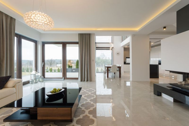 40331247 - photo of spacious expensive living room with shining marble floor