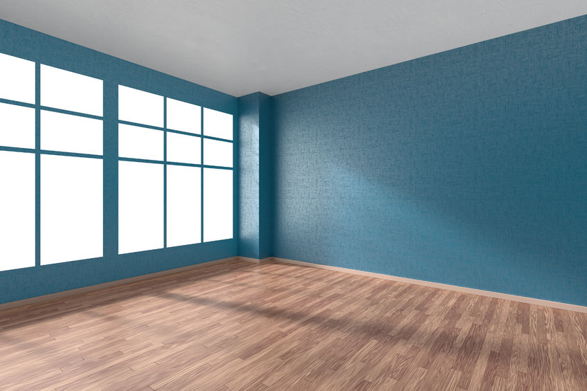 53585139 - empty room with hardwood parquet floor, big window, walls with blue textured wallpaper and sunlight from window, perspective view, 3d illustration