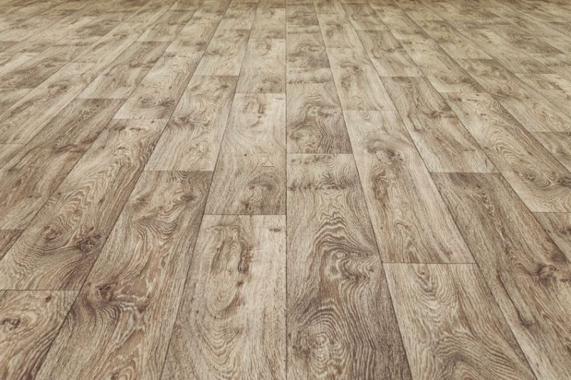 61720129 - linoleum flooring with embossed wood texture. dark brown floor. horizontal layout perspective.